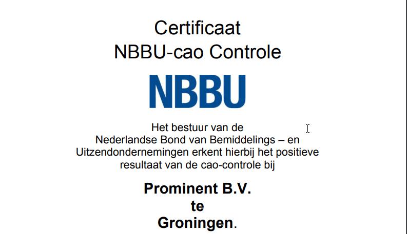 Certificaat NBBU-CAO Controle